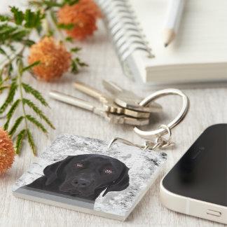 Labrador retriever negro llavero cuadrado acrílico a una cara