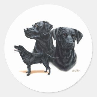 Labrador retriever negro etiquetas redondas