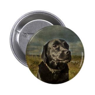 Labrador retriever negro pin redondo de 2 pulgadas