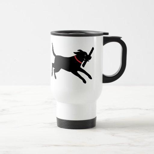 Labrador retriever (negro) taza de viaje de acero inoxidable
