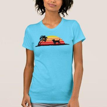 Beach Themed Labrador Retriever on Sunset Beach T-Shirt