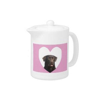 Labrador Retriever Pink Heart Teapot