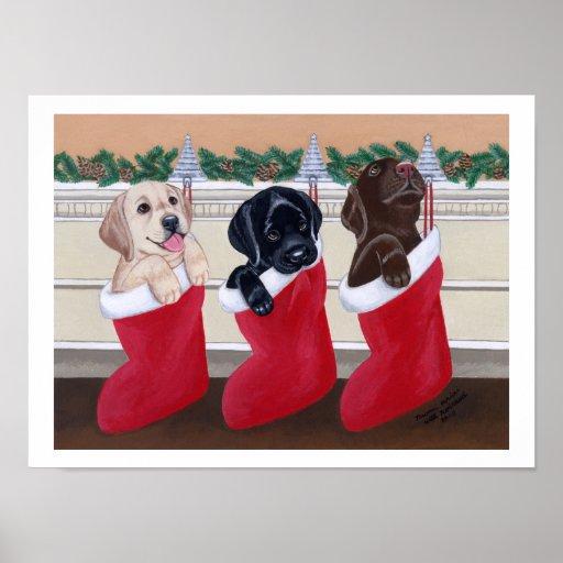 Labrador Retriever Puppies Christmas Artwork Posters