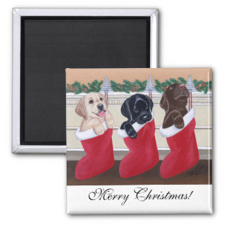 Labrador Retriever Puppies Christmas Painting 2 Inch Square Magnet