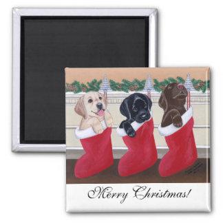 Labrador Retriever Puppies Christmas Painting Magnet