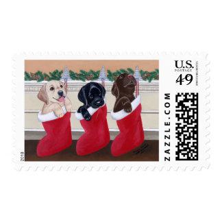Labrador Retriever Puppies Christmas Painting Postage