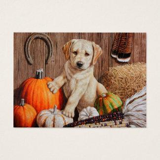 Labrador Retriever Puppy and Pumpkins Business Card