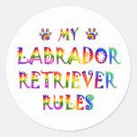 Labrador Retriever Rules Fun Round Sticker