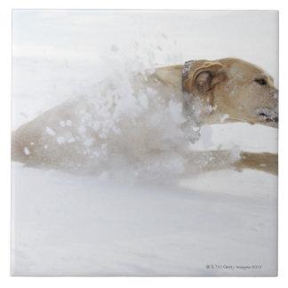 Labrador retriever running through deep snow ceramic tile