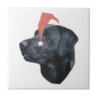 Labrador Retriever Santa Hat Black Tile