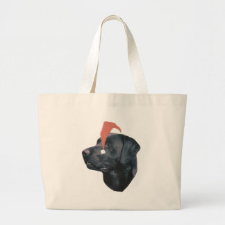 Labrador Retriever Santa Hat Large Tote Bag