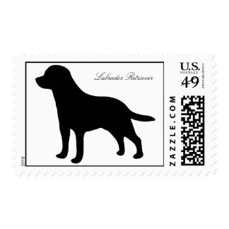 Labrador Retriever silhouette dog postage stamp
