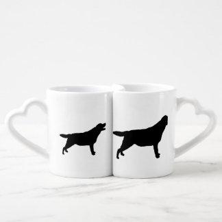 Labrador Retriever Silhouette Love Dogs Coffee Mug Set