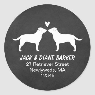 Labrador Retriever Silhouettes Return Address Classic Round Sticker