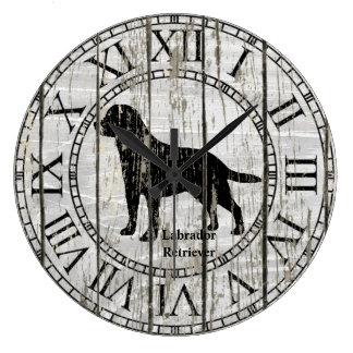 Labrador Retriever Weathered Wood Large Clock