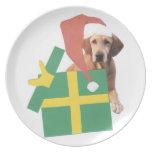 Labrador Retriever Yellow Christmas Santa Hat Plat Party Plate