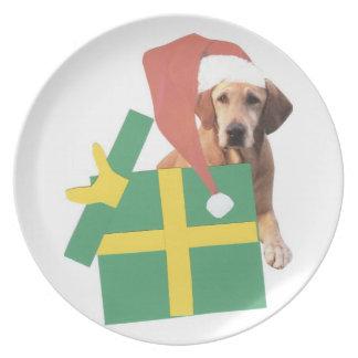 Labrador Retriever Yellow Christmas Santa Hat Plat Plate