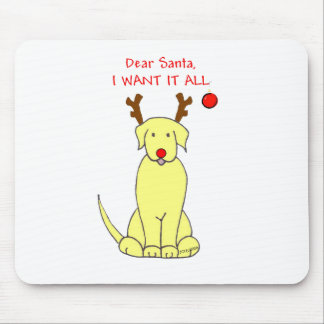 Labrador Retriever Yellow Dear Santa Mouse Pad