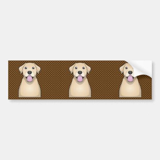 Labrador Retriever (Yellow Lab) Cartoon Paws Bumper Stickers