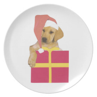 Labrador Retriever Yellow Santa Hat Plate