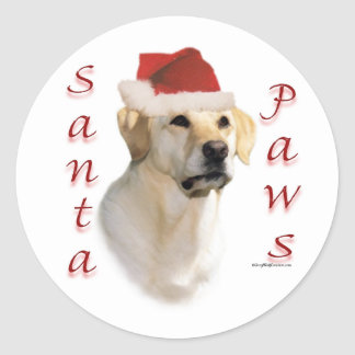Labrador Retriever (yellow) Santa Paws Classic Round Sticker