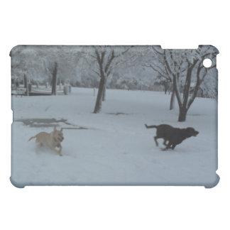 Labrador Retrievers playing in the snow iPad Mini Covers