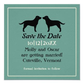 "Labrador Retrievers Wedding Save the Date 5.25"" Square Invitation Card"