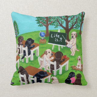 Labrador School Painting Throw Pillow