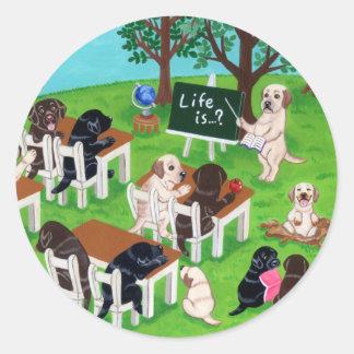 Labrador School Round Sticker