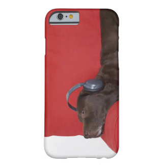 Labrador wearing headphones lying on sofa barely there iPhone 6 case