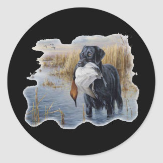 Labrador with Duck- Duck Hunting Classic Round Sticker