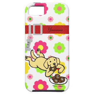 Labrador y buñuelos amarillos personalizados funda para iPhone 5 tough