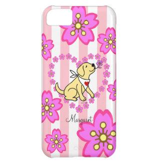 Labrador y flores de cerezo amarillos personalizad funda para iPhone 5C