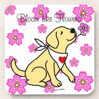 Labrador y flores de cerezo amarillos posavasos