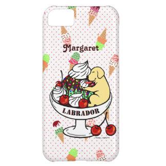 Labrador y helado amarillos personalizados del hel funda para iPhone 5C