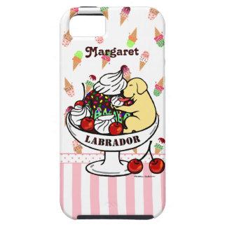 Labrador y helado amarillos personalizados del iPhone 5 carcasa