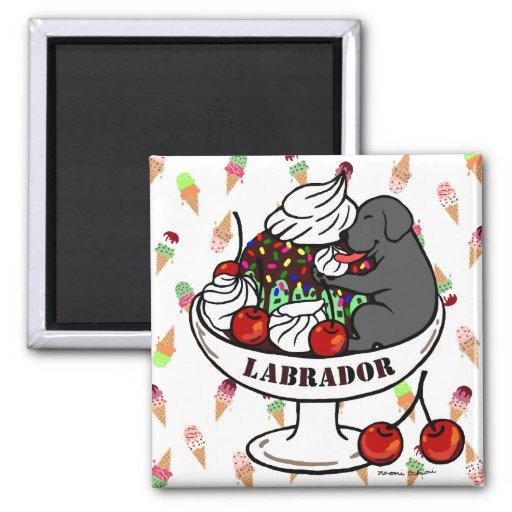 Labrador y helado negros del helado iman para frigorífico