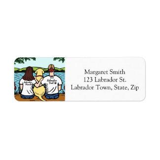 Labrador y mamá y papá amarillos de largo etiqueta de remitente