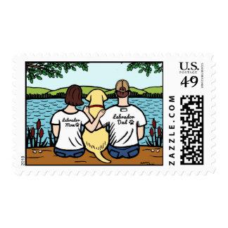 Labrador y mamá y papá amarillos sello