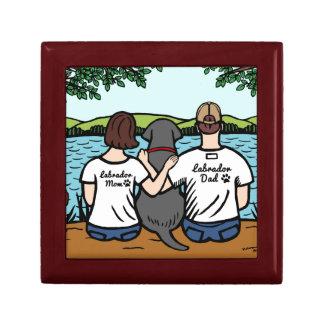 Labrador y mamá y papá negros joyero cuadrado pequeño