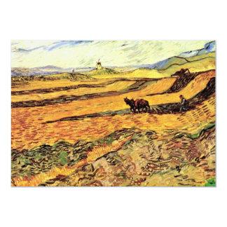 Labrador y molino, granja del campo w de Van Gogh Invitación 12,7 X 17,8 Cm