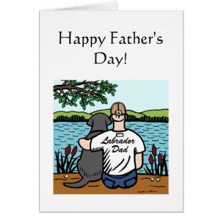 Labrador y papá negros tarjeta de felicitación