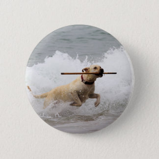 Labrador - Yellow - Go Fetch! Pinback Button