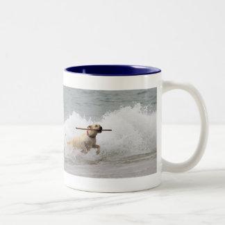 Labrador - Yellow - Go Fetch! Two-Tone Coffee Mug