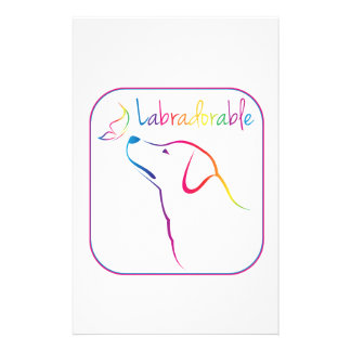 Labradorable! Multicolor Lab with Butterfly! Custom Stationery