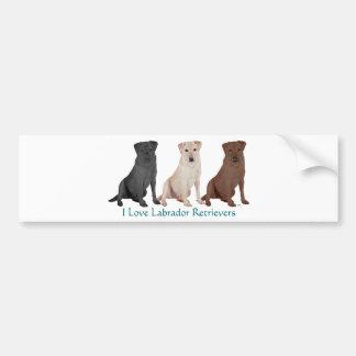 Labradores retrieveres - 3 colores al amor pegatina para auto