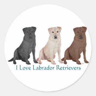 Labradores retrieveres - 3 colores al amor pegatina redonda