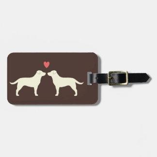 Labradores retrieveres amarillos con el corazón etiquetas de equipaje