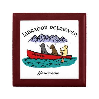 Labradores retrieveres Canoeing Joyero Cuadrado Pequeño