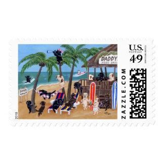 Labradores retrieveres divertidos y caprichosos timbre postal